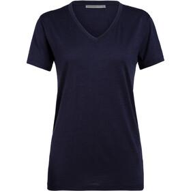Icebreaker Ravyn V-hals T-shirt Dames, midnight navy